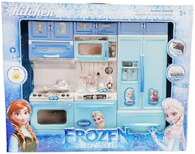 New Toy Chehar Enterprise  Frozen Kitchen Battery Operated Play Set with Refrigerator for Baby Girls (Multicolour)