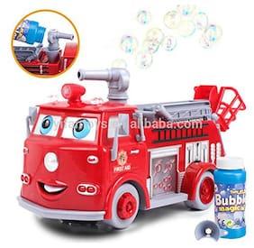 New Toy Chehar Enterprise Babytintin Cartoon Fire Rescue Pumper Bubble Blowing Bump & Go Battery Operated Toy Truck w/ Extending Crane