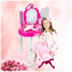 New Toy Chehar Enterprise Kids Girls Princess Battery Operated Beauty Makeup Pretend Role PlaySet Toy Mirror Durable Dressing Vanity Table up with Music and LightToys