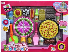 New Toy Chehar Enterprise Shopaholic Colorful Tableware Cooking Set Toy For Girls NO-7638-3