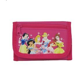 New Walt Disney Cartoon All Princess Hot Pink Trifold Wallet Cast Purse