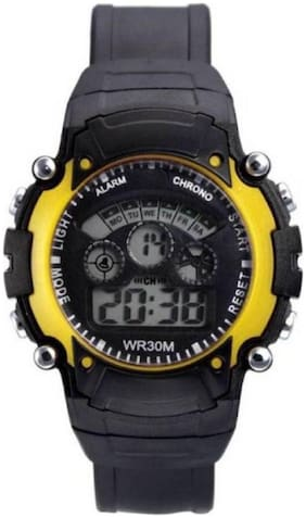 NEW YELLOW DIGITAL WATCH WITH 7 LIGHT WITH DIFFERENT COLOR FANCY KIDS AND BOY WATCH Watc