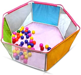 NHR 3-Wall Hexagon Ball Pool Play Tent for Kids with 50 Colorful Balls (3 Side Wall Pool with 50 Ball)