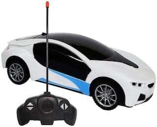 NHR Chargeable 3D Remote Control Lighting Famous Car for Kids (White)