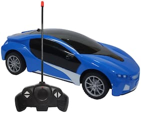 NHR Chargeable 3D Remote Control Lighting Famous Car for 3+ Years Kids (Blue)
