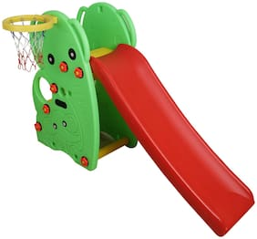 NHR Colorful 2 in 1 Junior Plastic Garden Slide with Basketball Ring for Kids/ Toddlers/ Preschoolers