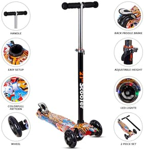 NHR Colorful Graffiti Foldable Scooty;4 Wheel Kids Scooter;Babies;Toddlers with Adjustable Height;LED Lights n Brake;Scooter for Kids