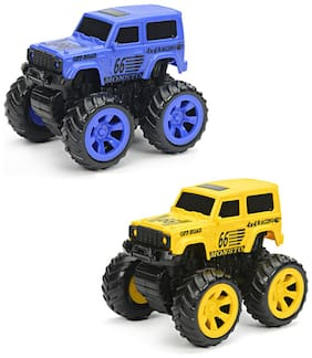 NHR Combo Pack Of 2 Mini Friction Powered Unbreakable Cars For Kids Big Rubber Tires Pull Back Monster Toy Car For Baby Boys (Blue & Yellow)
