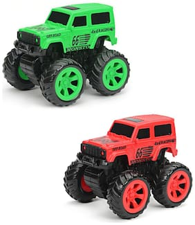 NHR Combo Pack Of 2 Mini Friction Powered Unbreakable Cars For Kids Big Rubber Tires Pull Back Monster Toy Car For Baby Boys (Green& Red)