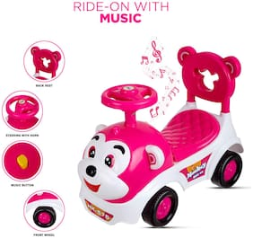 NHR Dash Baby Toy Monkey Ride On;Baby car;Kids car;Toy car;Push Car with Musical Tunes Toy for 1 Year Old Baby (Pink)