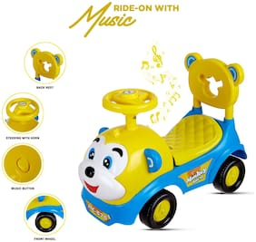NHR Dash Baby Toy Monkey Ride On;Baby car;Kids car;Toy car;Push Car with Musical Tunes Toy for 1 Year Old Baby (Blue)