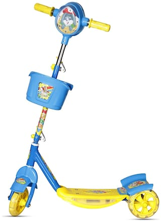 NHR Dash Noddy Deluxe 3 Wheel Adjustable Height Kids Scooter with Storage Basket;Horn and LED Lights;Weight Capacity 40 kgs (4 to 9 Years) (Blue)