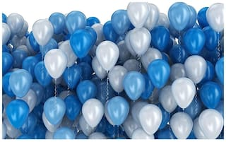 NHR Decoration large balloon Pack of 100 pieces (Blue & White)