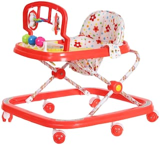 NHR Deluxe Musical Baby Walker with Play Tray and Hanging Toys (Red)