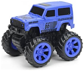 NHR Mini Friction Powered Unbreakable Cars For Kids Big Rubber Tires Pull Back Monster Toy Car For Baby Boys (Blue)