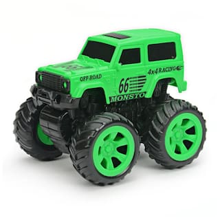 NHR Mini Friction Powered Unbreakable Cars For Kids Big Rubber Tires Pull Back Monster Toy Car For Baby Boys (Green)