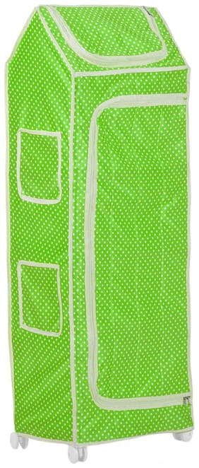 NHR Multipurpose Foldable/Collapsible Baby/Kid's Wardrobe/Cupboard/Almirah/Organizer/Toy Box with Polka Dots (5 Shelves, Green)