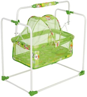 NHR New Born Baby Cradle;Baby Swing;Baby Jhula;Baby Palna;Baby Bedding;Baby Bed;Crib;Bassinet with Mattress;Mosquito Net and Swing Lock Function for 0-9 Months (Green)