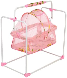 NHR New Born Baby Cradle;Baby Swing;Baby Jhula;Baby Palna;Baby Bedding;Baby Bed;Crib;Bassinet with Mattress;Mosquito Net and Swing Lock Function for 0-9 Months (Pink)