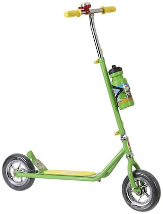 NHR Power Ranger Scooter with Sipper, Bell n Stand- Large Size (Height adjustable to 90 cm for Kids upto 10 years)- Green