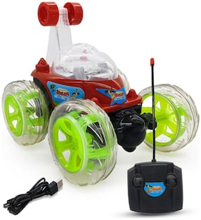 NHR Remote Control Rechargeable  360 Degree Twisting Stunt Car with Music & Lights for and Charger Kids (Red)