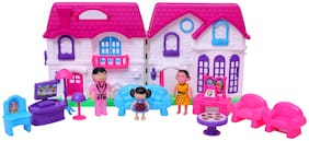 NHR Small Doll House With Melodious Door Bell sound & Light Set for Girls Kids ,Foldable &  Furniture , 100% Non-Toxic BPA Free Plastic , Doll House Play Set