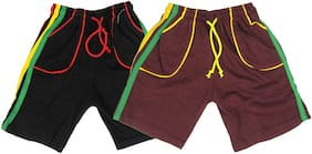 Night Wear - Boy's Shorts - Pack of 2 - 9/10 Years - Black/Maroon