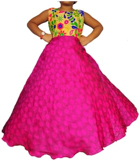 NIHA Girls Kids Party Wear Long Frock Maxi Gown Birthday Dress Pink