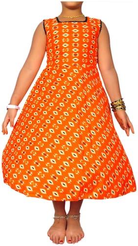 NIHA Orange Cotton Sleeveless Knee Length Princess Frock ( Pack of 1 )