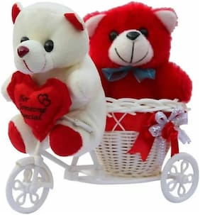 Nihan Enterprises Red & White Teddy Bear - 8 cm , 2