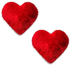 Nihan Enterprisesred Color Soft/Cuddle Heart Shape Cushion Set of 2