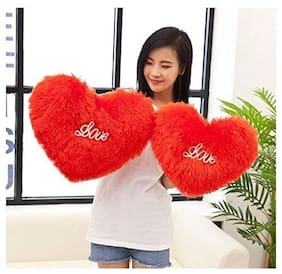 Nihan Enterprises Red Soft/Cute/Stuffed Heart Cushion Set of 2