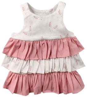 Nino Bambino Baby Girl Cotton Printed Top Top - Cream