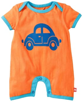 Nino Bambino Baby boy Cotton Printed Romper - Orange