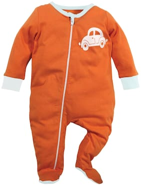 Nino Bambino Baby boy Cotton Printed Sleep suit - Orange