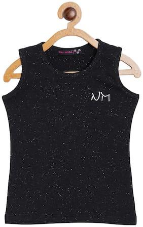 NINSMODA Girl Cotton blend Solid Top - Black