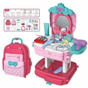 NISWA  Cute Design School Bag Beauty Makeup & Hair Dressing Kit for Kids (pink)