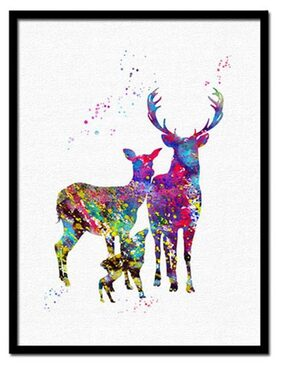 No Frame Fashion Simple Creative Elk Home DIY Inkjet Oil Painting Living Room Bedroom Children's Room Hanging Painting Wall Decoration Painting