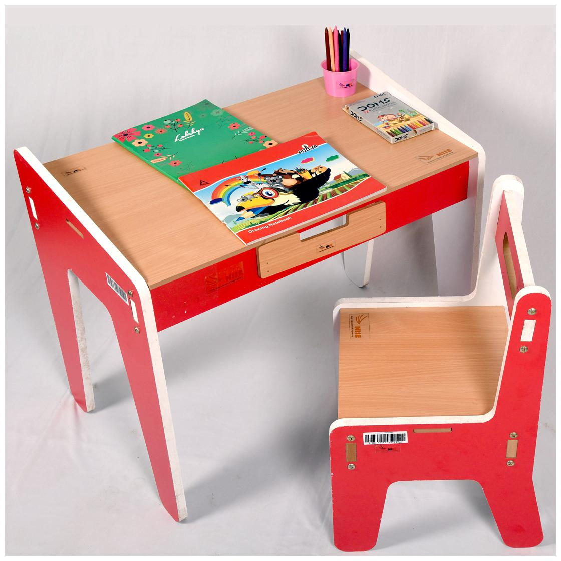 Novel India-900,Kids Study Table & Chair set (Red)- Strong and Beautiful Design,...