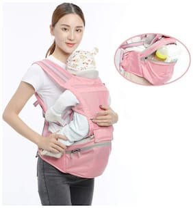 NOYMI Ergonomic Baby Carrier with Hip Seat, Breathable Baby Carriers with Detachable Seat Adjustable Waist Strap for 30-45inch Waist - 6 Positions to Carry Your Newborn, Infant, or Toddler(Pink)