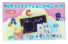 Nursery Teaching Kit Alphabet & Picture Fun Blocks, Writing slate And colouring book