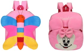 O Teddy Combo Of Cute Butterfly And Minnie Soft Toy Plush School Bag for Kids Birthday Gift Picnic Bag Carry Bag Gift