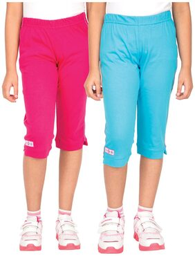 Ocean Race Pink And Turquoise Stylish Attarctive 3/4 Th Capris-Pack Of 2 (Size-4-5 Yrs)