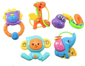 ODDEVEN Set of 5 pcs with Various Exciting Toys for New Borns & Infants Rattle Rattle  (Multicolor)