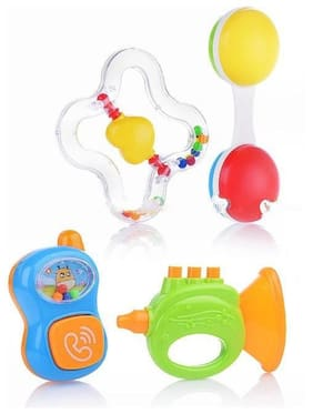 ODDEVEN Set of 4 pcs with Various Exciting Toys for New Borns & Infants Rattle Rattle  (Multicolor)