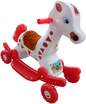 Oh Baby'' Baby Plastic Elephant With Rocking Function And Running Rideo On With Amazing Color For Your Kids First Class Rocking Plastic Elephant With 4 Wheels For Cycle