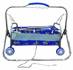 ''Oh Baby'' Baby Multicolor Best On Super Quality Stell Pipe Cradles And Bassinet (Jhulla And Palna);Crib Cum Stroller;With Mosquito Net With Running Baggi 4 Wheels For Your Kids