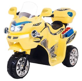 Oh Baby  Baby Battery Operated Bike With Musical Sound And Back Basket 3-Wheel Battery Operated Ride On Bike With Music;Horn;Headlights With 25 Kg Weight Capacity For Your Kids Assorted