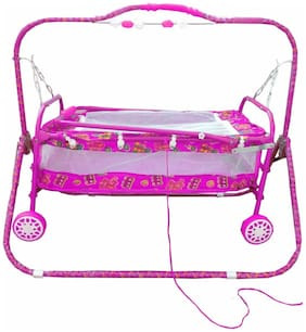Oh Baby Baby Pink Bassinets And Cradles(Jhulla Baggi And Palna Baggi) With Mosquito Net For Your Kids Se-Jp-26