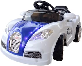 Oh Baby, Baby Battery Operated LED Light FARARI Car WHITE Color With Remote Control And Mobile Music Connectivity For Your Kids SE-BOC-33